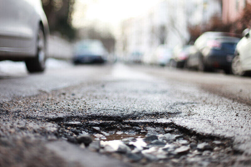 pothole in road